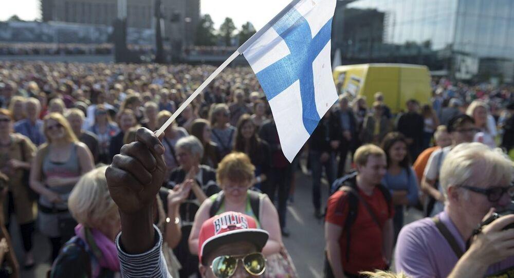 Finlandiya'nın başkenti Helsinki'de ırkçılık karşıtı gösteri