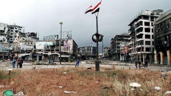 Humus'ta Suriye bayrakları - Sputnik Türkiye