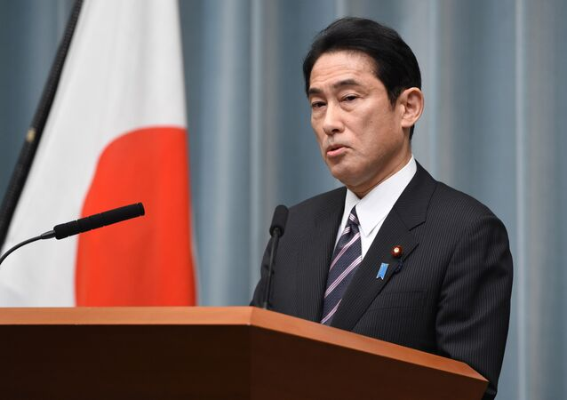Japanese Foreign Minister Fumio Kishida speaks during his press conference at the prime minister's official residence in Tokyo