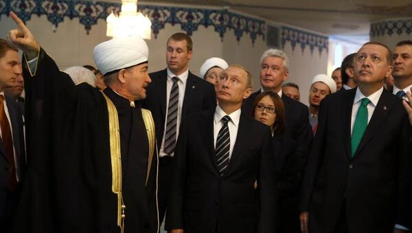 Erdoğan - Putin - Moskova Ulu Camii - Sputnik Türkiye
