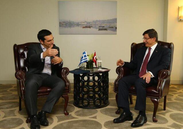 Türkiye Başbakanı Ahmet Davutoğlu- Yunanistan Başbakanı Aleksis Çipras