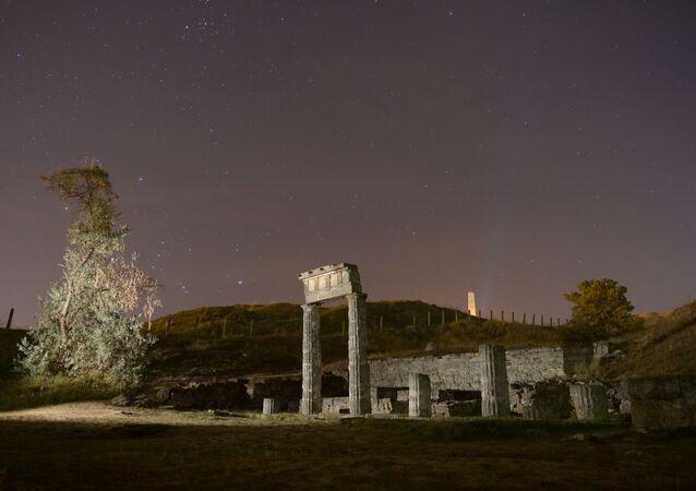 Kerç kentinde Mithridates dağı üzerinde bulunan Panticapaeum antik Yunan kentinin kalıntıları.