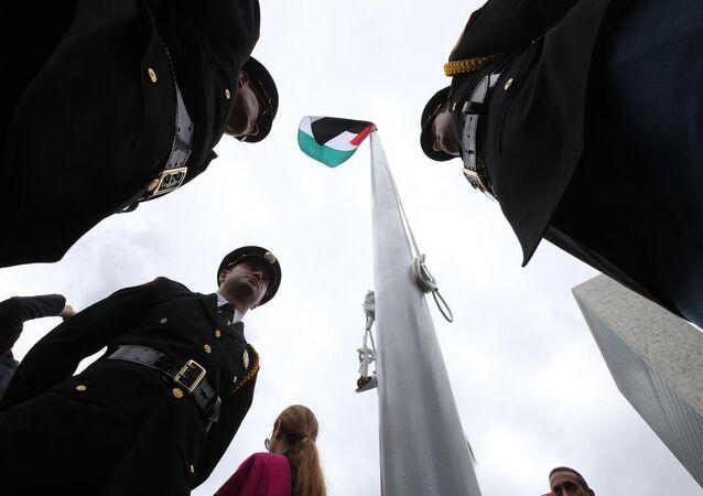 Filistin Devleti bayrağı BM'de göndere çekildi