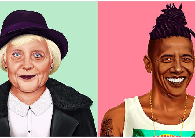 hipster obama merkel