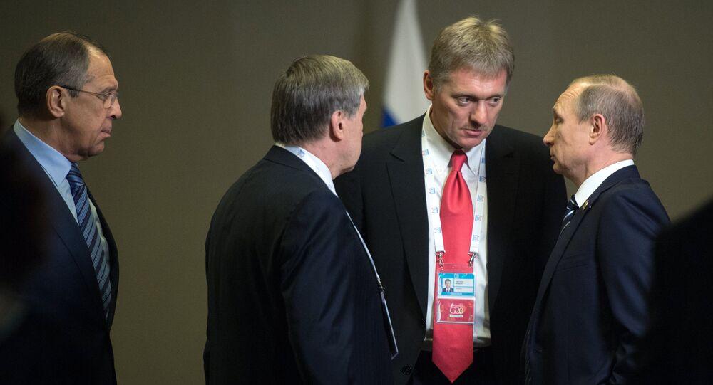 Vladimir Putin, Dmitriy Peskov, Yuriy Uşakov, Sergey Lavrov