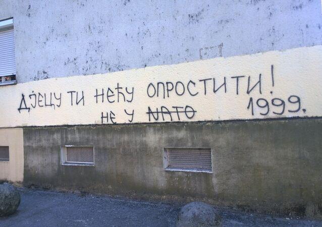 Karadağ'da NATO karşıtı grafitiler