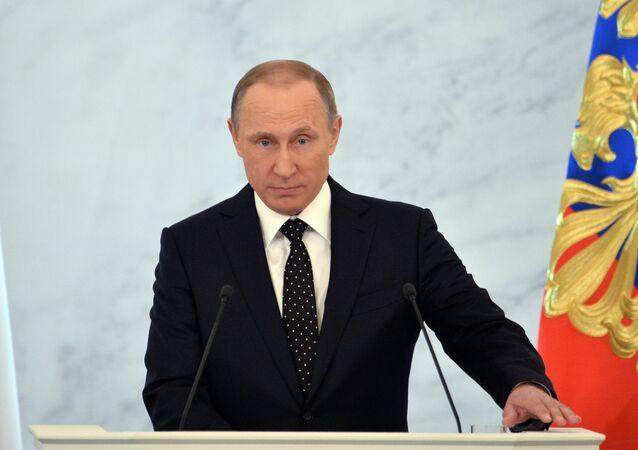 Rusya Devlet Başkanı Vladimir Putin Federal Meclis'e hitap ediyor.