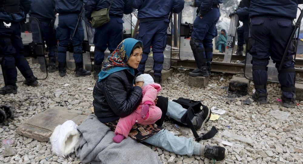 Yunanistan'ın Makedonya sınırındaki İdeomeni kasabasındaki sığınmacılar
