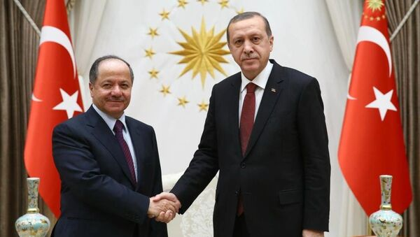 Mesud Barzani- Recep Tayyip Erdoğan - Sputnik Türkiye