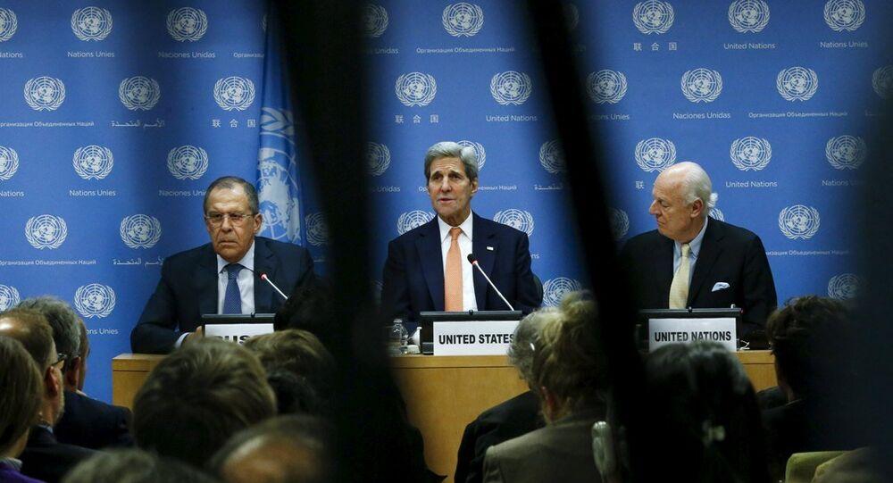 Rusya Dışişleri Bakanı Sergey Lavrov, ABD'li mevkidaşı John Kerry ve BM Suriye Özel Temsilcisi Staffan de Mistura