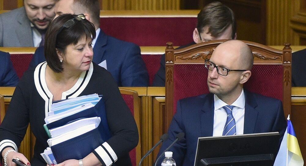 Ukrayna Maliye Bakanı Nataliya Yaresko ve  Başbakanı Arseniy Yatsenyuk