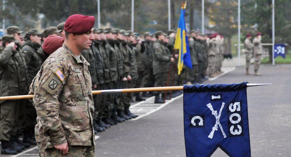 'Korkusuz Gardiyan' adlı tatbikat kapsamında Amerikan askerleri, Lviv'de Ukrayna Ulusal Tugayı'na bağlı birlikleri eğitiyor.