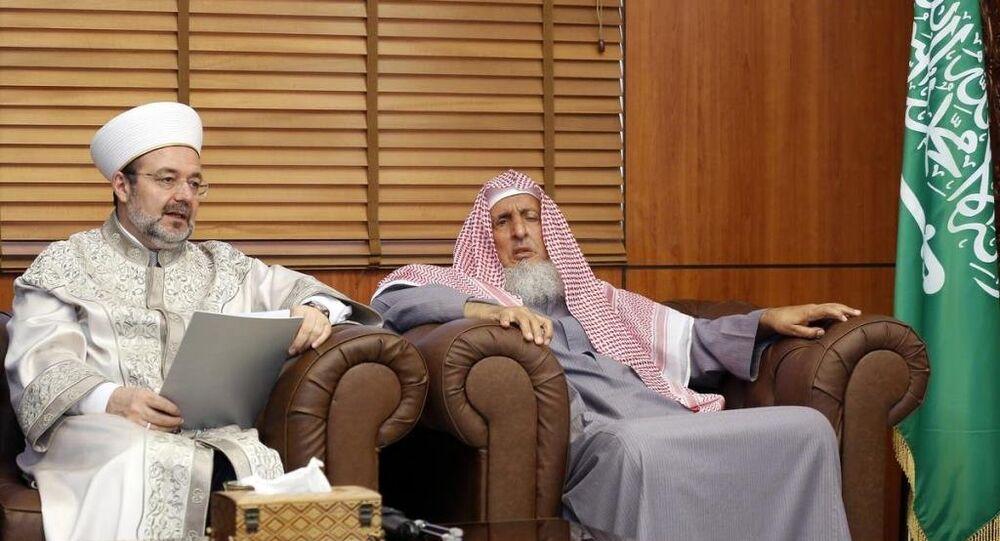 Diyanet İşleri Başkanı Prof. Dr. Mehmet Görmez (solda), iki günlük resmi ziyaret çerçevesinde bulunduğu Suudi Arabistan'ın başkenti Riyad'da.