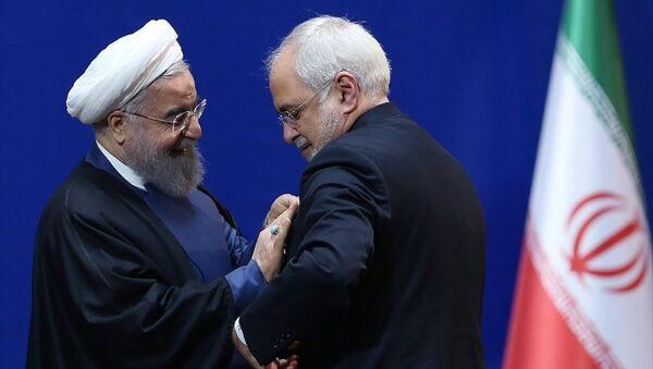 İran Cumhurbaşkanı Hasan Ruhani ve Dışişleri Bakanı Muhammed Cevad Zarif - Sputnik Türkiye
