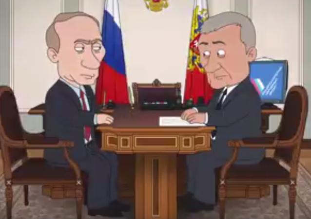 Rus gazeteci İvanitskaya, Rusya'da iktidardaki Birleşik Rusya partisine yeni fikirler kazandırmayı amaçlayan Rusya Halk Cephesi'nin yayınladığı, Rusya Devlet Başkanı Vladimir Putin'in 'yolsuzlukla mücadele yöntemlerinin' yansıtıldığı çizgifilm videolarını derledi.