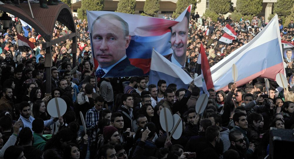 Humus'ta Rusya'ya destek gösterisi
