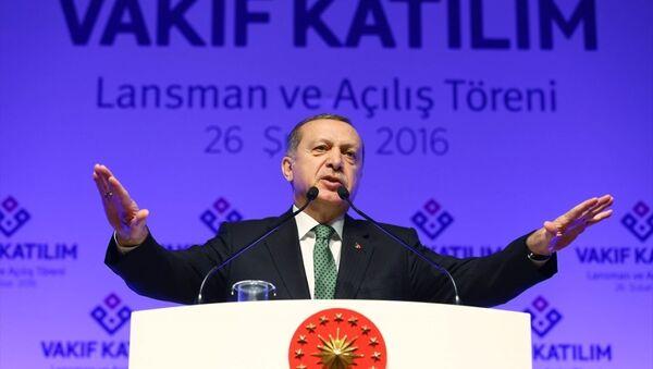 Cumhurbaşkanı Recep Tayyip Erdoğan, Haliç Kongre Merkezi'nde gerçekleştirilen Vakıf Katılım Bankası Açılış Töreni'ne katılarak konuşma yaptı. - Sputnik Türkiye