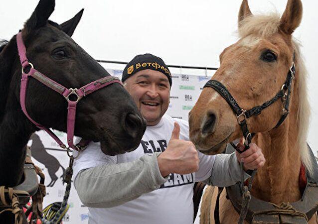 Rusya'nın en güçlü adamı ters yönde kaçmaya çalışan iki atı tutmayı başardı