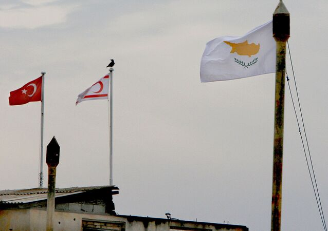 From the right to left, Cyprus,Turkish Cypriot state and Turkish flags