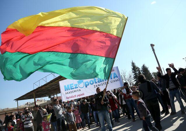 Kamışlı'daki kutlamalarda PYD bayrağı