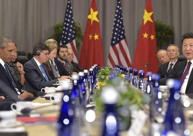 ABD Başkanı Barack Obama ile Çin Devlet Başkanı Şi Cinping, Beyaz SAray'Da bir araya geldi.