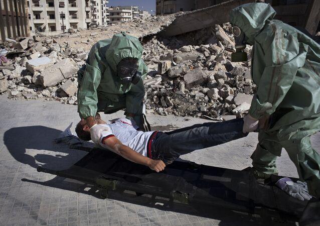 Halep'te düzenlenen bir kimyasal saldırı tatbikatı.