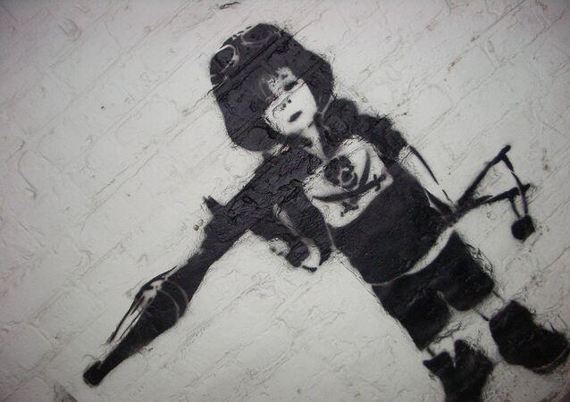 Çocuk asker graffitisi