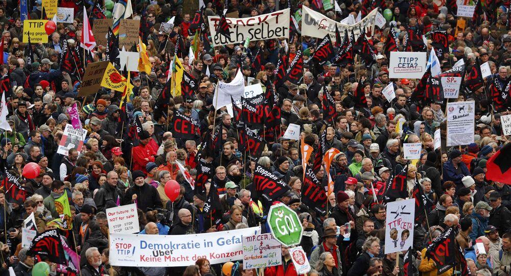 Hannover'daki TTIP protestosu