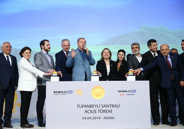 Cumhurbaşkanı Recep Tayyip Erdoğan, EnerjiSA Tufanbeyli Termik Santrali açılış töreninde.