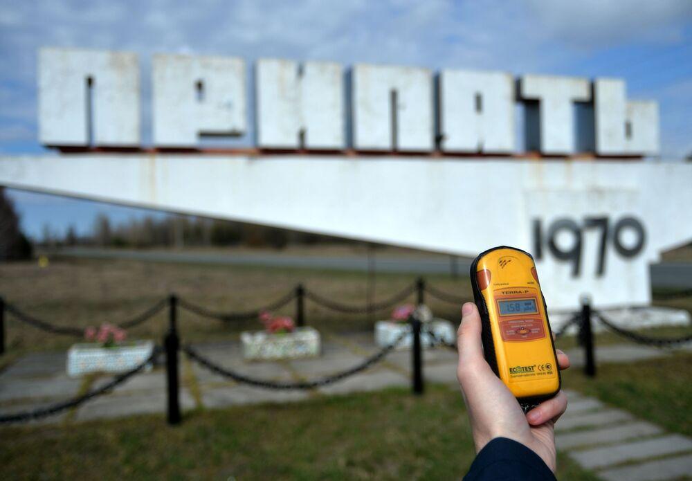 Pripyat şehrinin girişi.