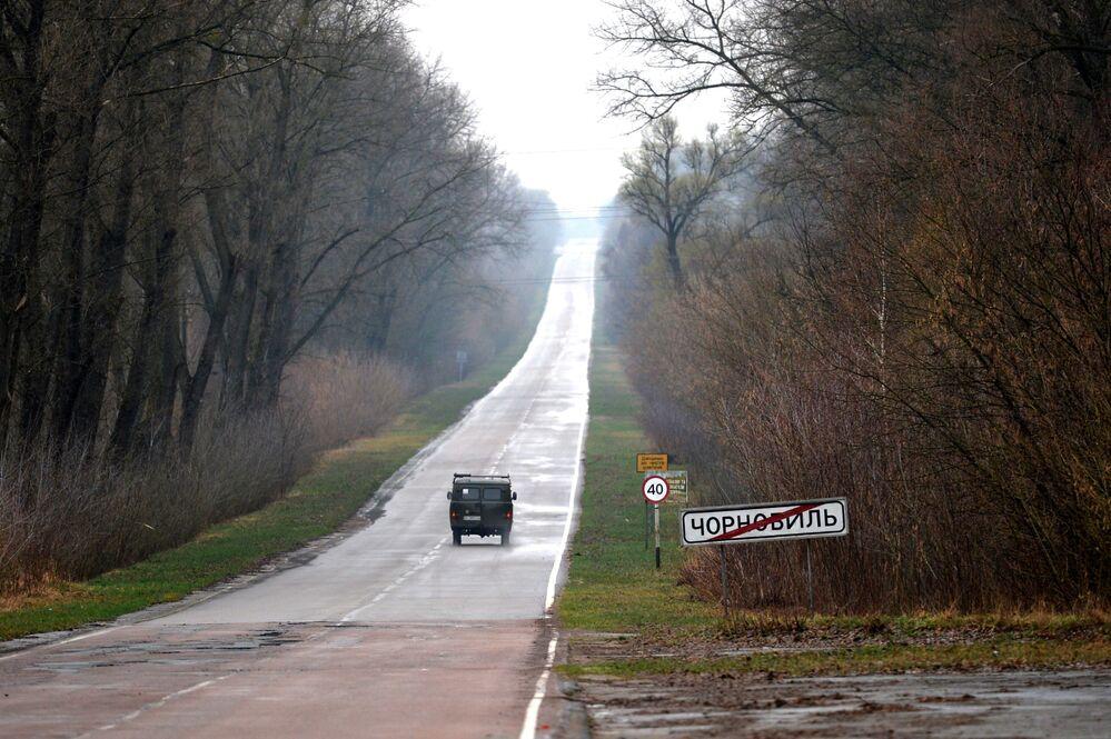 Çernobil girişinde trafik işareti.