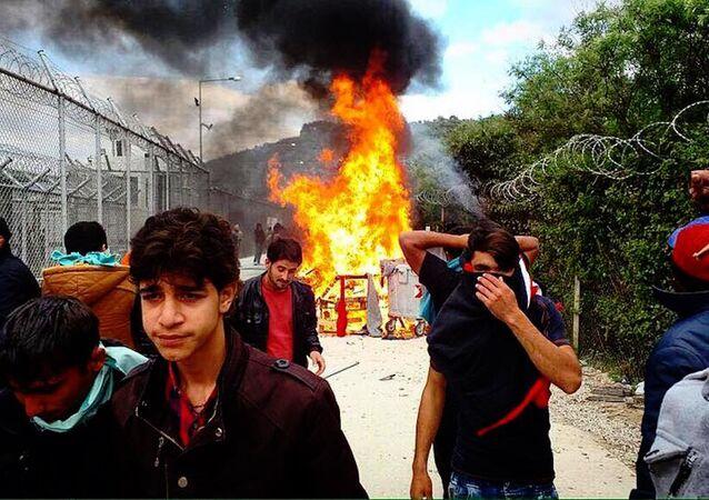 Midilli'deki Moira Sığınmacı Kampı'nda olaylar çıktı.