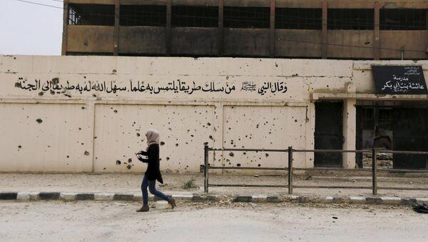 IŞİD tarafından tahrip edilen bir okul. - Sputnik Türkiye
