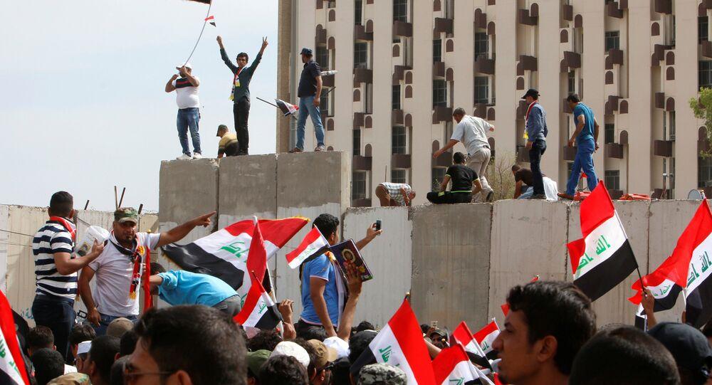 Irak'ta Sadr yanlıları Yeşil Bölge'de eylemde