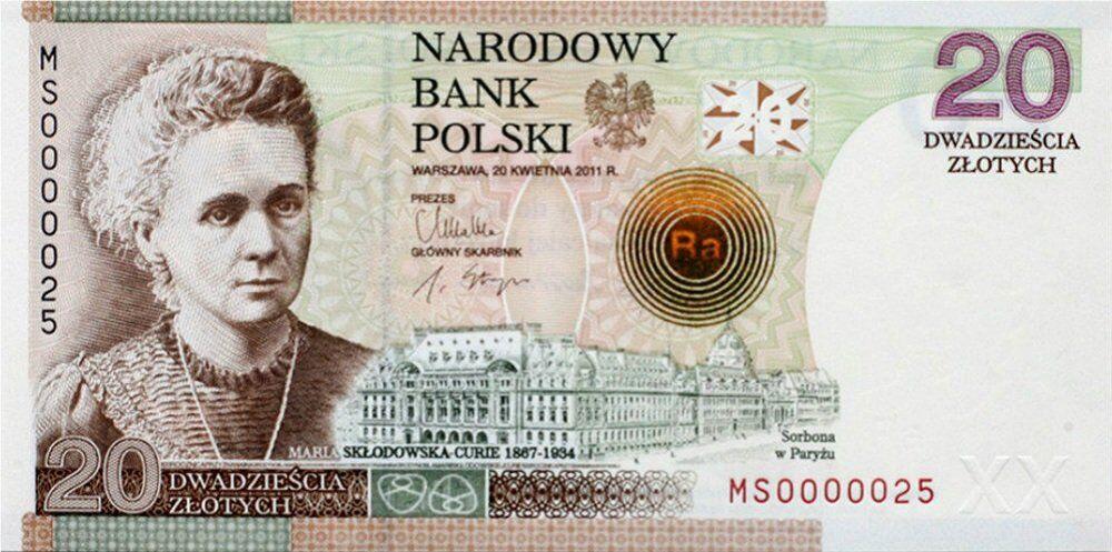 Avrupa ülkelerindeki banknotlarda euro kullanımına geçmeden önce, önemli kadınlar yer alıyordu. Polonya'daki 20 zlotı kullanan kişilere Polonya asıllı Nobel ödüllü kimyager Marie Curie'yi hatırlatıyor.