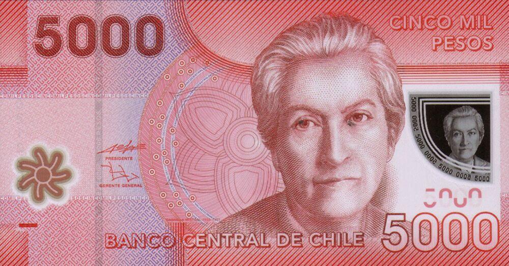 Şili'deki 5 bin pesoda 1945 yılında Nobel Edebiyat Ödülü alan Gabriela Mistral görülüyor.