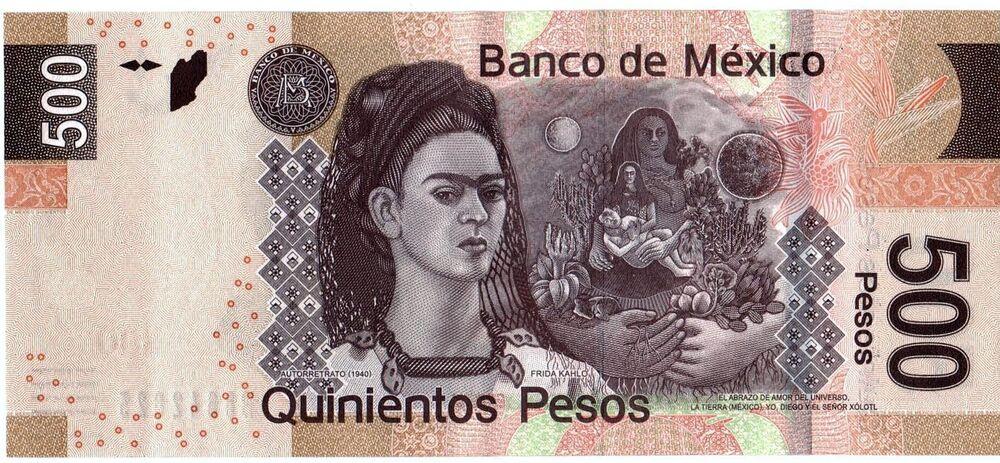 Meksika'daki 500 pesonun arka yüzünde ressam Frida Kahlo'nun 1940 tarihli portresi yer alıyor.