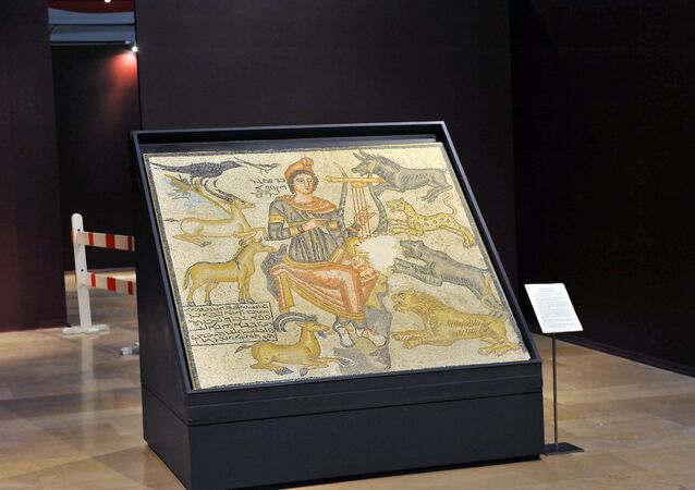 İstanbul Arkeoloji Müzesi'ndeki 'Orpheus' mozaiği.