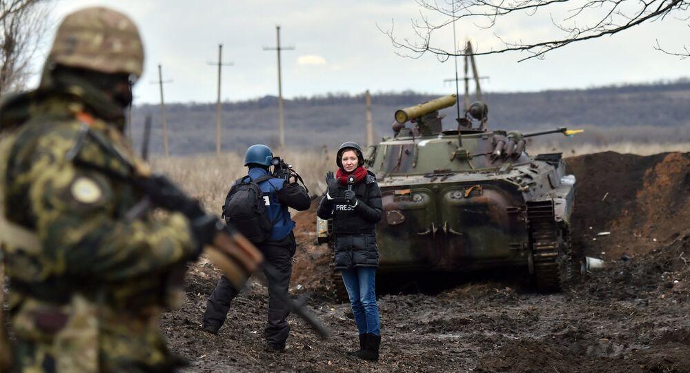 Donetsk'teki gazeteciler.