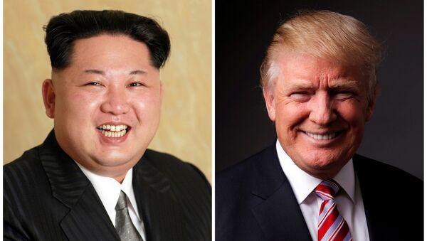 Kuzey Kore lideri Kim Jong-un ve ABD Başkanı Donald Trump - Sputnik Türkiye