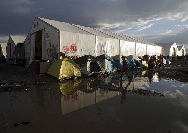 Yunanistan'ın Makedonya sınırında yer alan İdomeni kasabasındaki göçmen kampı