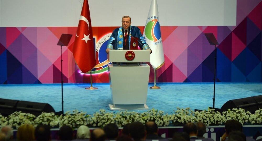 Cumhurbaşkanı Recep Tayyip Erdoğan, Kırşehir'de Ahi Evran Üniversitesi fahri doktora tevcih törenine katılarak konuşma yaptı.