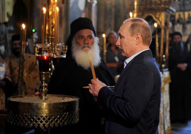 Rusya Devlet Başkanı Vladimir Putin, Rus manastırının 1000. yıldönümü çerçevesinde 'kutsal tepe' anlamına gelen Aynoroz'da.