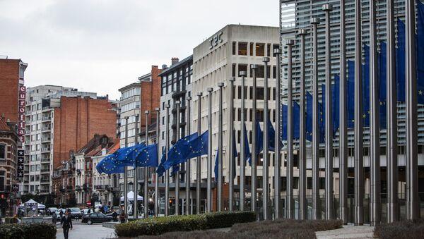 Avrupa Komisyonu Genel Merkezi önündeki Avrupa Birliği bayrakları. - Sputnik Türkiye