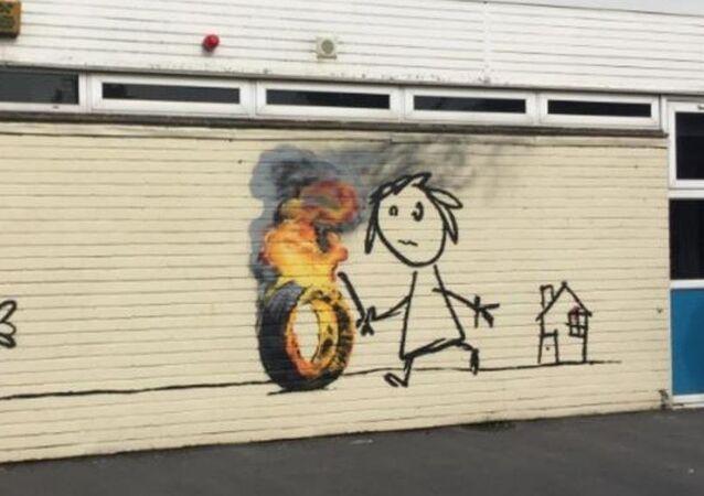 Banksy'den ilkokula duvar resmiyle teşekkür