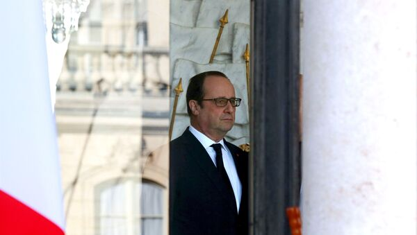 French President Francois Hollande stands in the entrance of the Elysee Palace following the weekly cabinet meeting in Paris, France, March 2, 2016. - Sputnik Türkiye