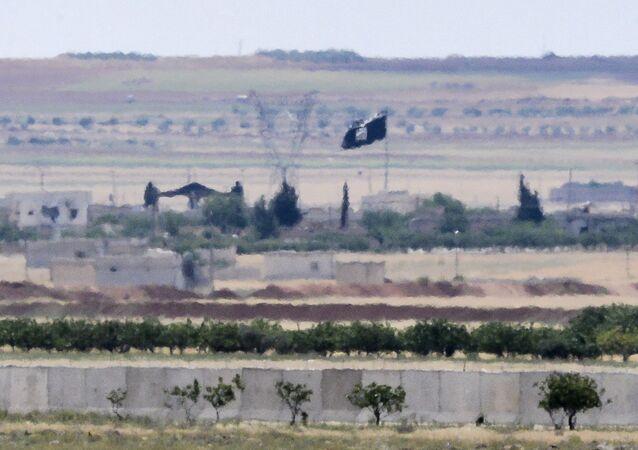 Türkiye - Suriye sınırı / IŞİD bayrağı