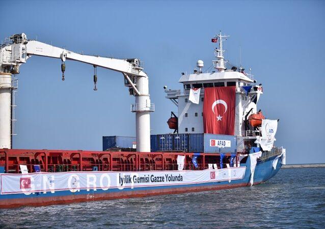 Türkiye ile İsrail arasında varılan mutabakat kapsamında, Türkiye'den Gazze'ye ulaştırılacak 11 bin ton insani yardım malzemesini taşıyan 'Lady Leyla' adlı gemi, Mersin Uluslararası Limanı'nda düzenlenen törenle uğurlandı.