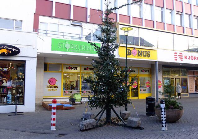 Reykjavik'teki bir Noel ağacı