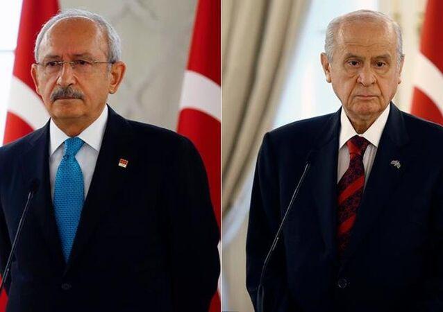 CHP Genel Başkanı Kemal Kılıçdaroğlu ile MHP Genel Başkanı Devlet Bahçeli